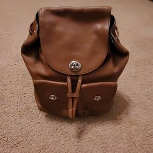 Coach Saddle Leather Backpack & Matching Wallet